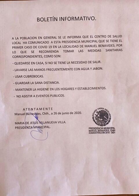 Primer caso de Covid19 en Manuel Benavides
