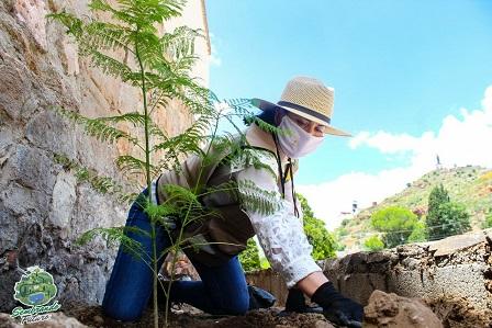 Sol Sánchez reforesta el Parque Lineal.