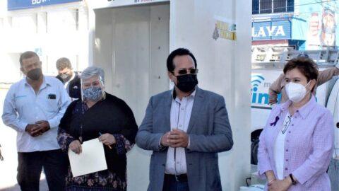 Instalan Caseta Sanitizadora en el Sector Centro